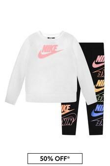 Nike Girls Black & White Cotton T-Shirt and Leggings Set