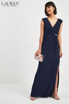 Lauren Ralph Lauren® Navy Wrap Diamanté Maxi Dress