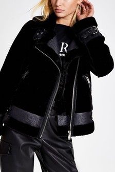 River Island Black PU Shearling Aviator Jacket