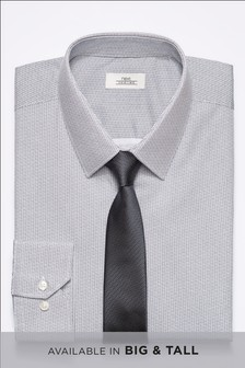 Printed Regular Fit Shirt With Tie
