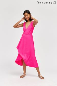 Warehouse Pink Asymmetric Wrap Midi Dress