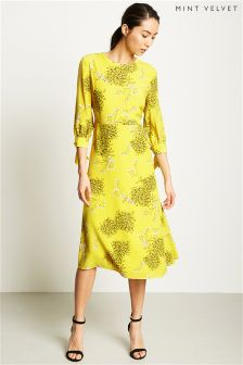 Mint Velvet Yellow Natasha Print Midi Dress
