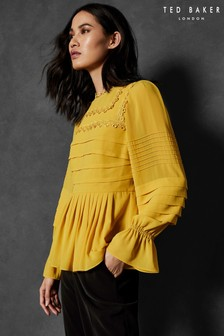 Ted Baker Yellow Tie Sleeve Blouse