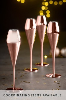 Rosa Metallic Set of 4 Prosecco Flute Glasses
