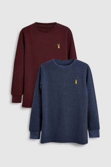 Long Sleeve Pique T-Shirts Two Pack (3-16yrs)