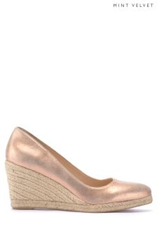 Mint Velvet Gold Grace Pointed Toe Espadrille Wedge