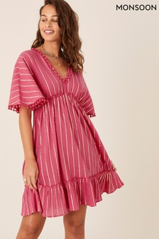 Monsoon Red Pom-Pom Trim Stripe Kaftan