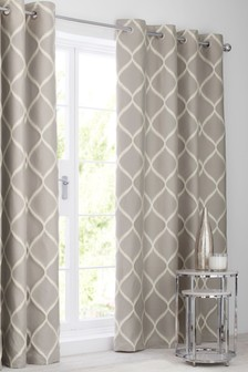 Ikat Geo Jacquard Eyelet Lined Curtains