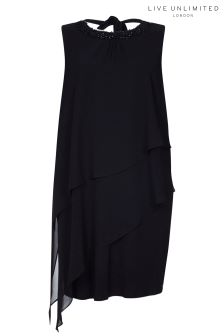Live Unlimited Black Trimmed Teired Dress