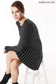Karen Millen Black Micro Stripe Stitch Knit Dress