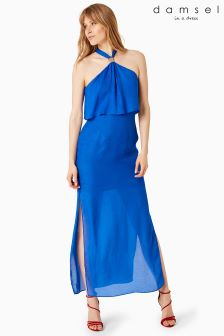 Damsel Blue Karina Leopard Jacquard Maxi Dress
