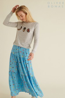 Oliver Bonas Blue Fruity Midi Skirt