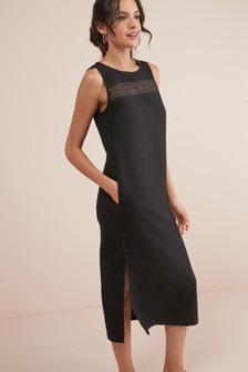 7a566cbf04b84 Add to Favourites. Black · Rose · Linen Blend Midi Dress