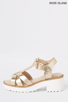 54be91acc River Island Gold Clumpy Sandal
