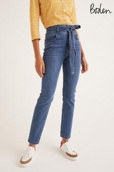 Boden Blue Tie Waist Straight Jeans