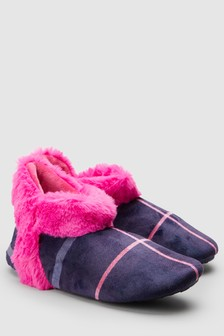 Faux Fur Detail Slipper Boots