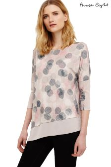 Phase Eight Ivory/Multi Ediline Etched Spot Top