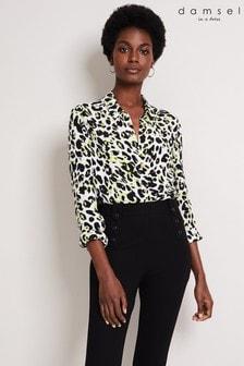 Damsel In A Dress Yellow Urban Silk Blend Leopard Blouse