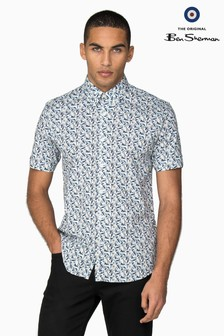 Ben Sherman Blue Short Sleeve Scooter Flag Shirt