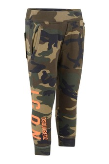 Kids Green Camouflage Cotton Joggers