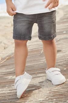 Kratke hlače iz denima in džersija z elastičnim pasom (3 mesecev–7 let)