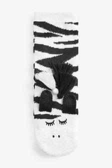 Zebra Cosy Bed Socks