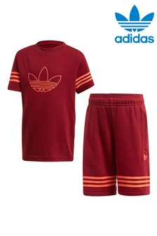 adidas Originals Little Kids Burgundy Outline T-Shirt And Shorts Set