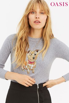 Oasis Grey Bailey Sequin Dog Jumper