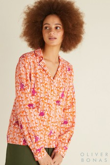 Oliver Bonas Wickelbluse mit Affenmuster, Pink