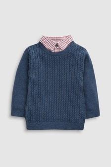 迷你麻花針織衫假兩件襯衫 (3個月至6歲)