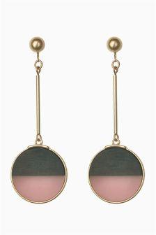 Clip On Beaded Tassel Drop Earrings
