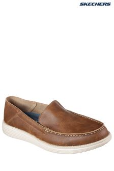 Skechers® Brown Leather Slip-On With Air Cooled Memory Foam