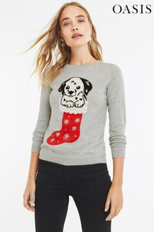 Oasis Grey Christmas Dog Jumper