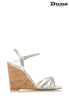 Dune London Silver Cork Diamanté Dressy Sandal