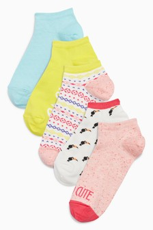 Bright Slogan/Pattern Trainer Socks Five Pack