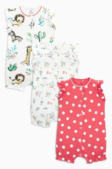 Jungle Print Romper Three Pack (0mths-2yrs)