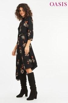 Oasis Multi Black Floral Printed Midi Dress