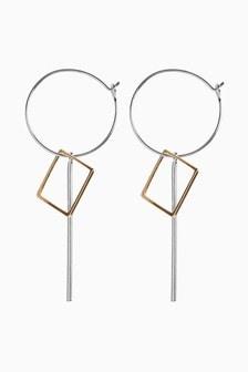Geometric Mixed Metal Drop Earrings