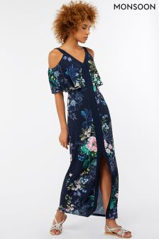 Monsoon Blue Willow Cold Shoulder Maxi Dress