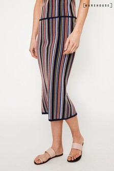 Warehouse Black Ottoman Stripe Knitted Skirt