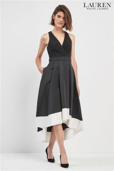 Lauren by Ralph Lauren Dip Hem Black With White Hem Dress