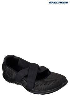 Skechers® Black Go Walk Lite Cutsey Black Cross Band Mary Jane