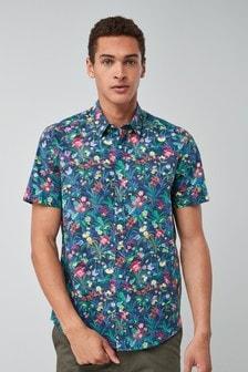 Short Sleeve Bright Floral Print Shirt
