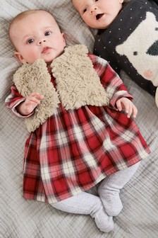 Check Dress And Gilet Set (0mths-2yrs)