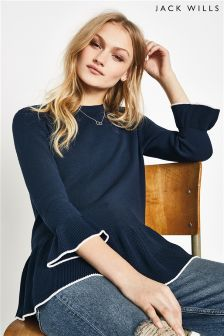 Jack Wills Navy Frill Hem Jumper