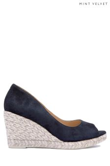 Mint Velvet Blue Cleo Peep Toe Espadrille Wedge