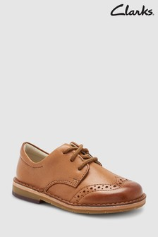 Clarks Tan Leather Comet Heath Brogue Lace Up First Shoes