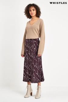 Whistles Brown Twig Print Skirt