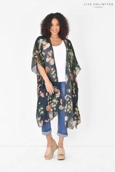 Live Unlimited Curve Navy Oriental Floral Longline Kimono