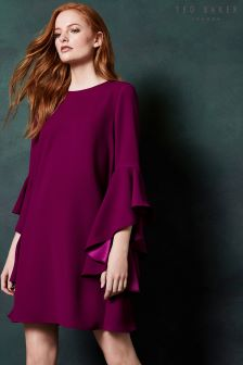 Ted Baker Ashley Maroon Flute Long Sleeve Dress